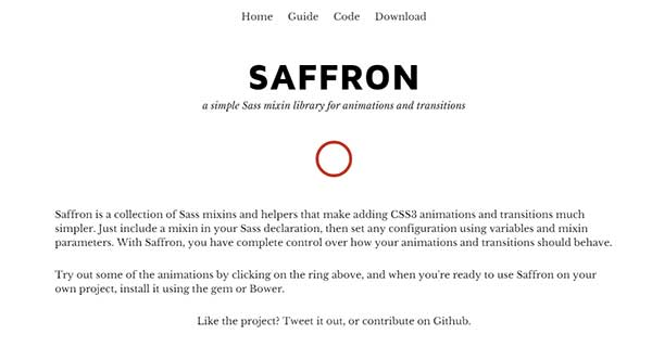 SAFFRON - A Simple Sass Mixin Library for Animations and Transitions