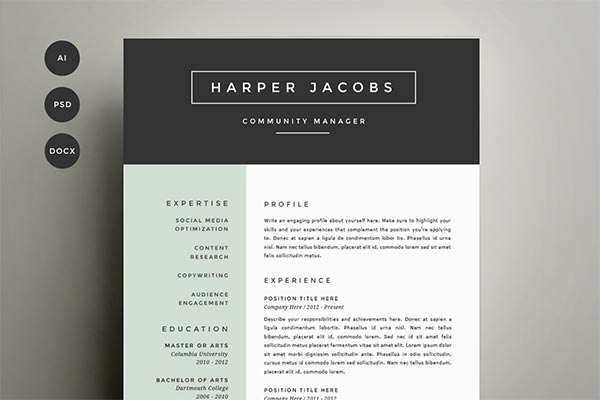 15 Microsoft Word Resume Templates and Cover Letters – Designrshub ...