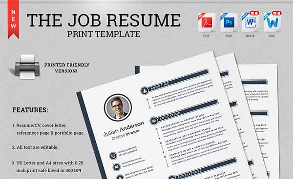 The Job Resume CV Print Template