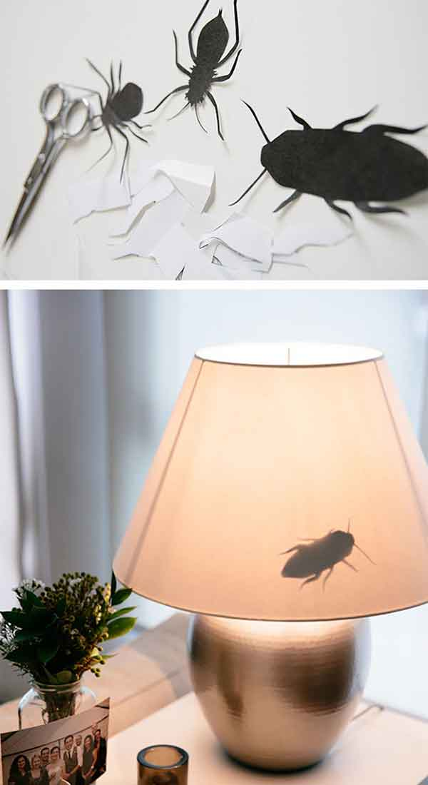 Fake insects on their lamp