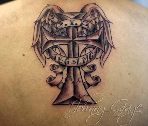 R.I.P Cross with Wings Tattoo