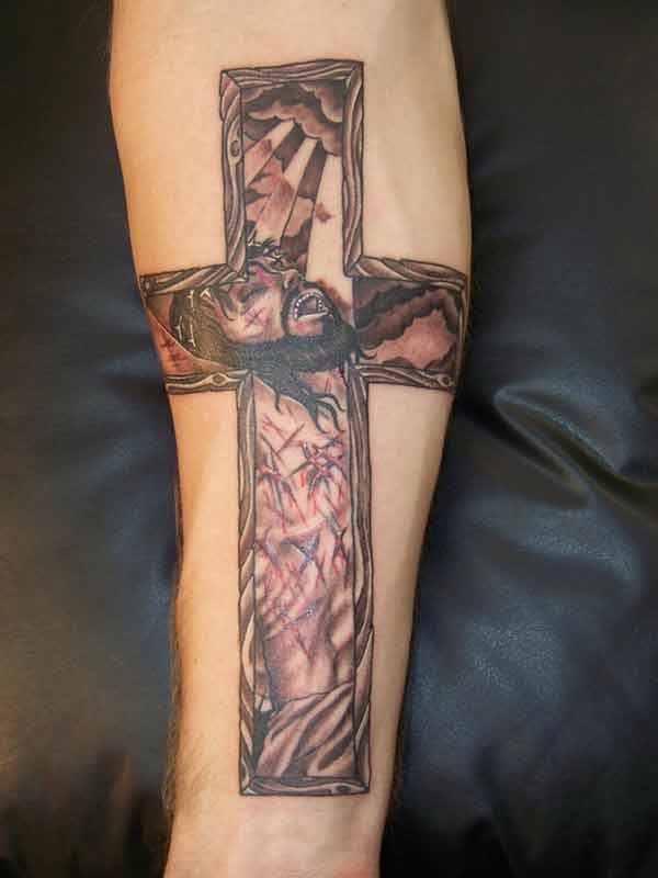 Cross Tattoo with Christ