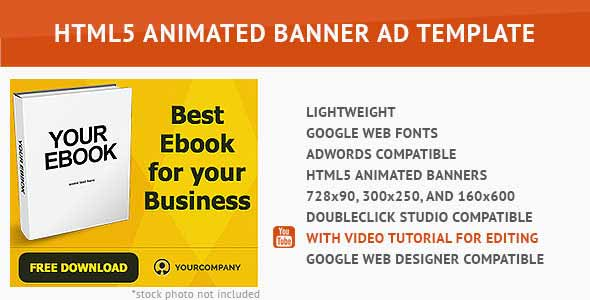 Gold Ebook HTML5 Animated Banner