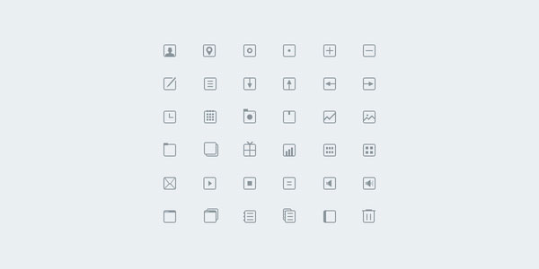 36 Thin Icons Free PSD