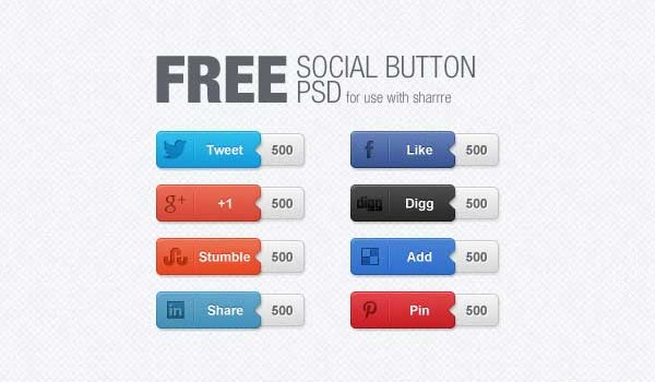 15 Free Social Media Counter Buttons PSD Templates