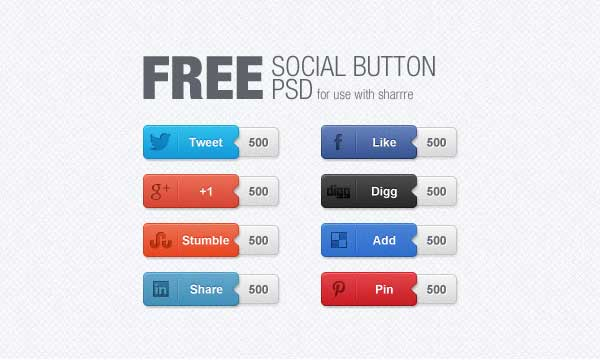 Free Social Buttons PSD