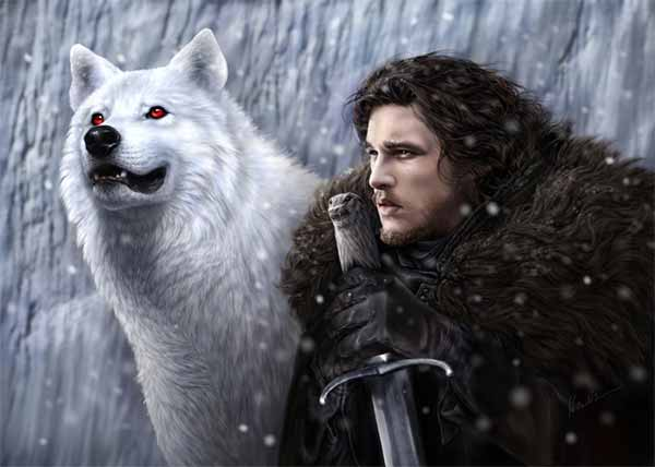 Digital painting of Jon Snow and Ghost