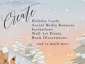 Bundle for Greatness: Watercolor Winter Scene Creator