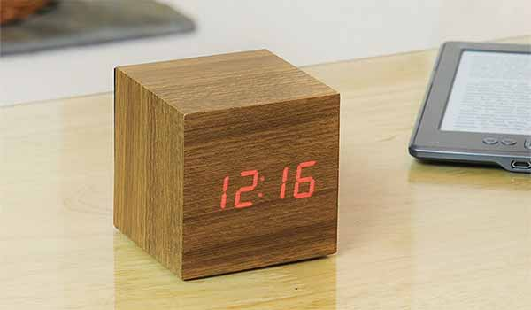 LED Teak Cube Alarm Clock
