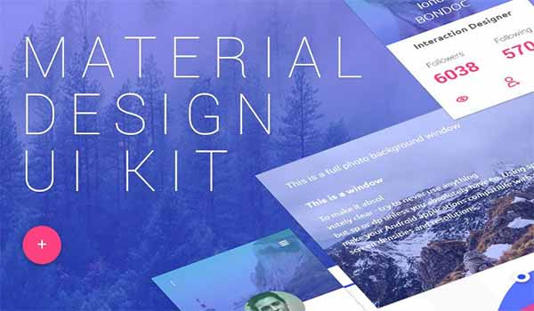 15 Free Material Design User Interface Kit PSD Templates