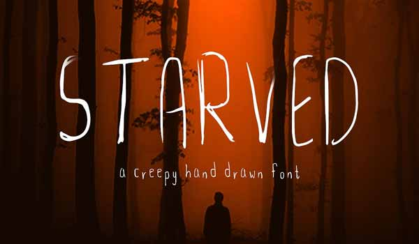 Starved - A Little Horror Hand Drawn Font