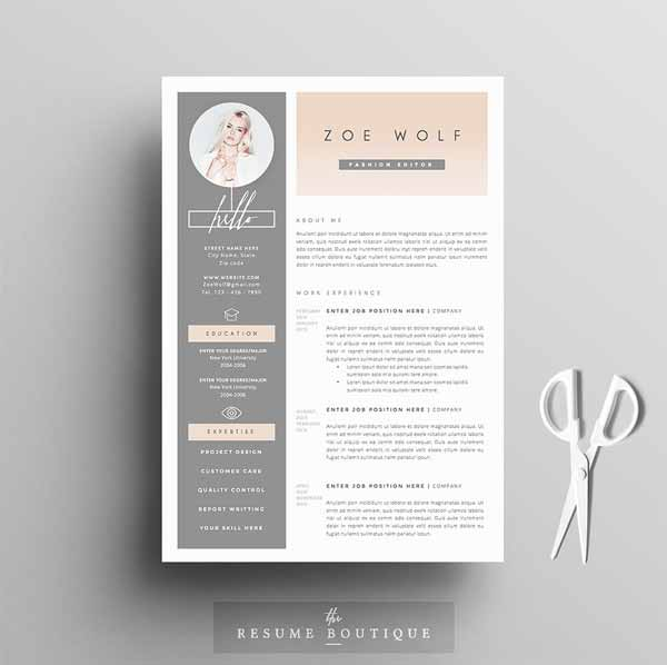 Feminine Resume Template 5 Pages