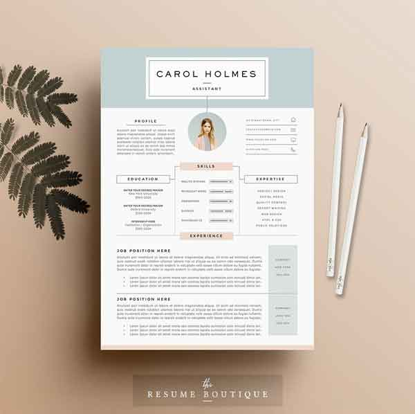 Feminine Resume Templates 5 Pages