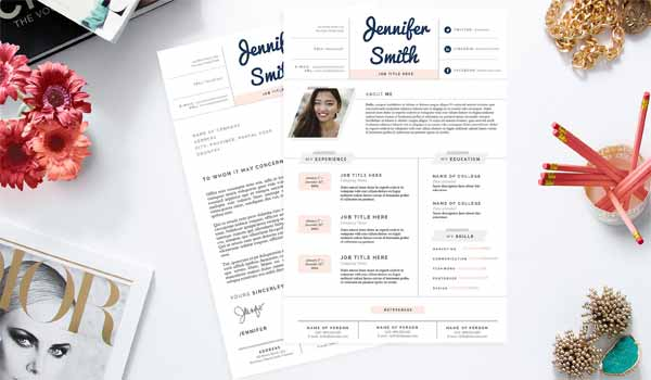 Pastel Resume, Cover Letter Template