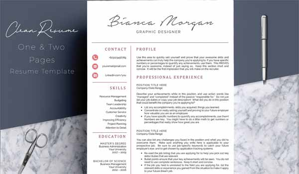 4 Pages Professional Resume CV