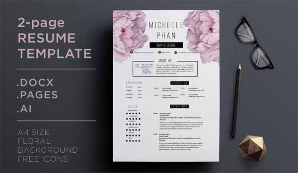 Flower Resume Template and Cover Letter