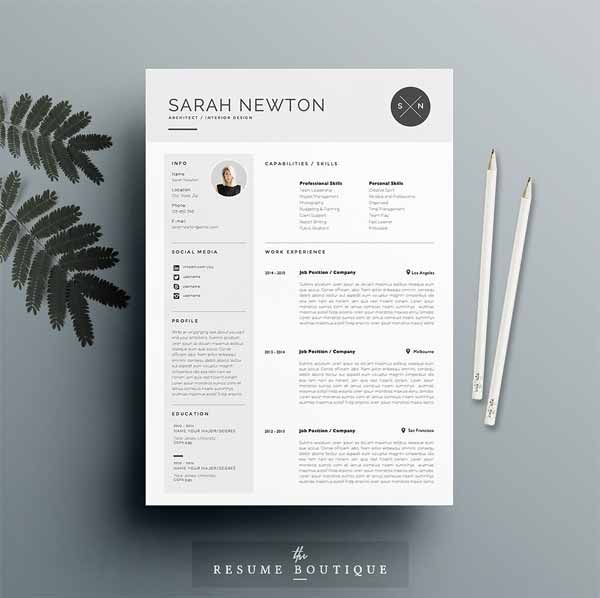 Feminine Resume Template Designs 4 Pages