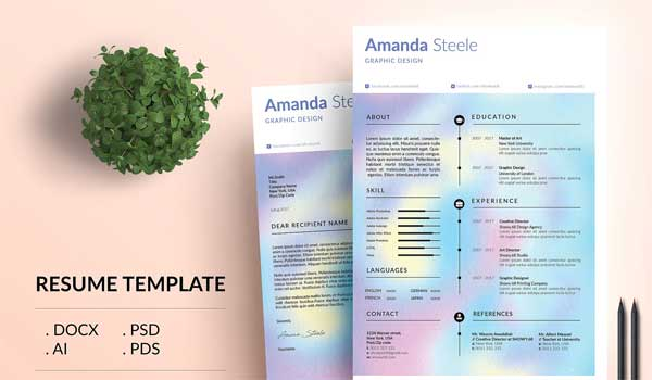 Holographic CV/Resume Template