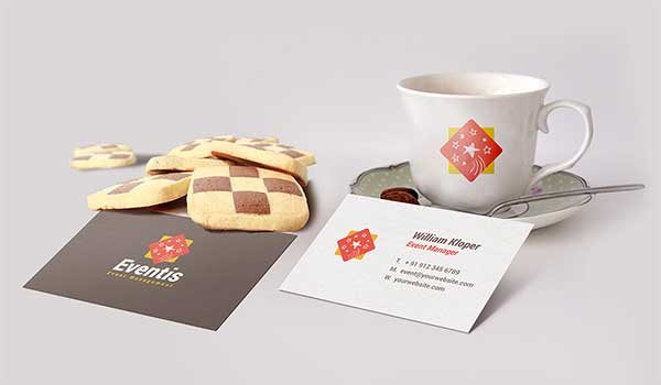 Free Business Card And Coffee Cup Scene Mockup PSD